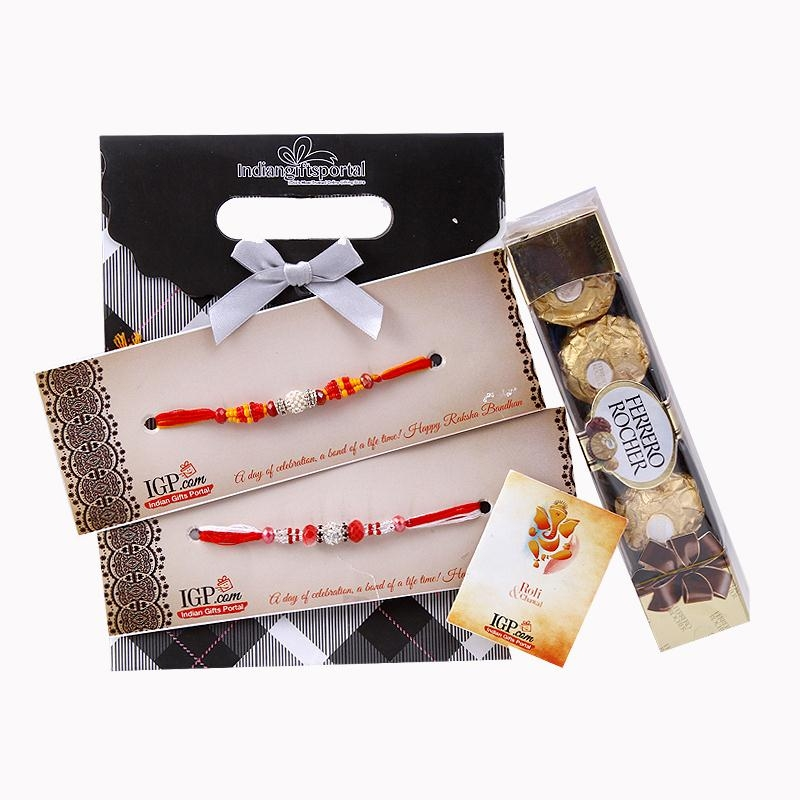 Ferrero Rocher Pack with 2 Rakhi Set