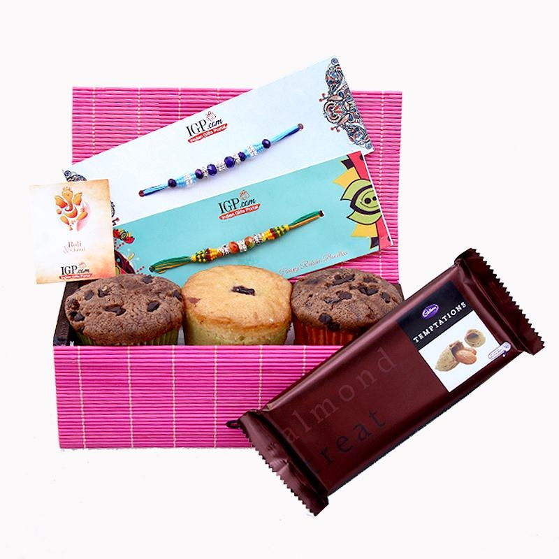 Choco Muffins with 2 Rakhi Set