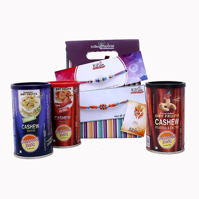 3 in 1 Dryfruits with 2 Rakhi Set