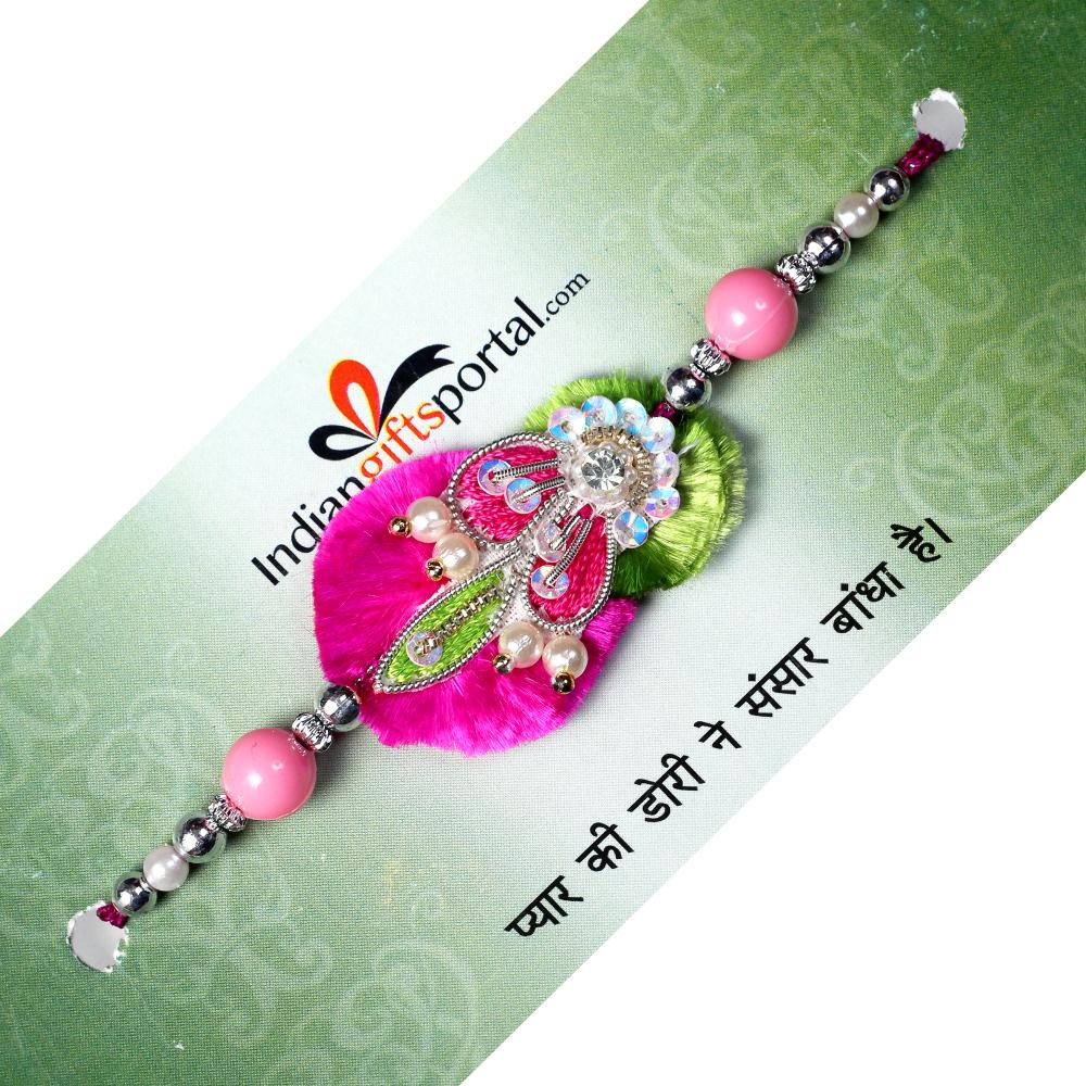 Sequins Pink Thread Rakhi