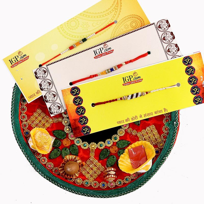 Velvet Thali with 3 Rakhis